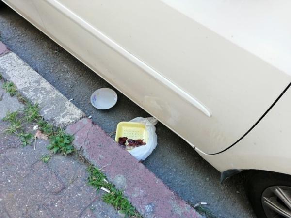 """Duyarlı vatandaş, otomobilin ön camındaki sileceklerin altına büyük puntolarda, """"Arabanın altında kedi yavrusu var. Bir de su ve mama için tabak var. Binerken dikkatli olursanız seviniriz. Saygılar"""" yazdı."""