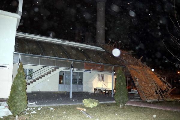 Şehirde dün akşam saatlerinde etkisini artıran rüzgarın hızı, bazı bölgelerde saatte 110 kilometreye kadar ulaştı. Talas, Melikgazi ve Kocasinan ilçeleri başta olmak üzere çok sayıda mahallelerde binaların çatıları uçtu, ağaçlar devrildi.