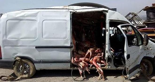 Kaza yapan minibüsten et fışkırdı