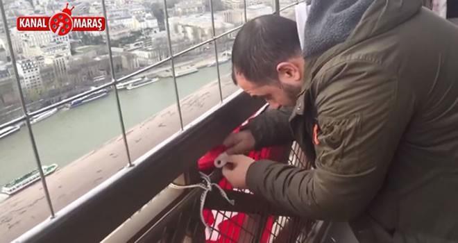 Kahramanmaraşlı vatandaş Eyfel Kulesi'ne Türk bayrağı astı
