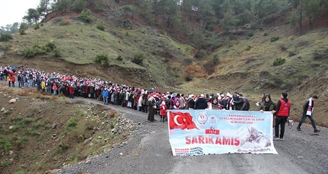 Kahramanmaraş'ta Sarıkamış şehitleri için yürüyüş yapıldı