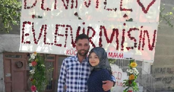 Kahramanmaraş'ta genç aşıktan sürpriz evlilik teklifi
