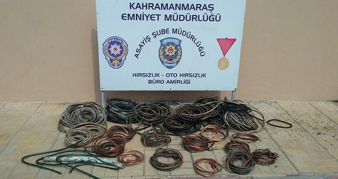Kahramanmaraş'ta kablo hırsızı suçüstü yakalandı