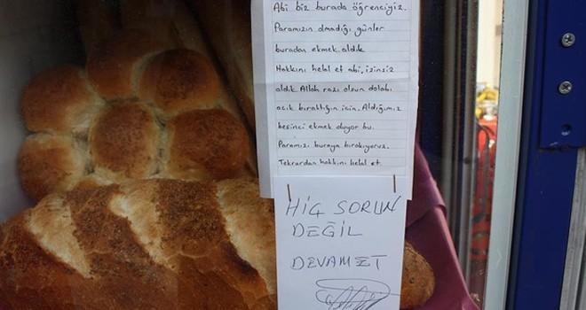 İzinsiz ekmek aldığı bakkalın sahibine not bıraktı