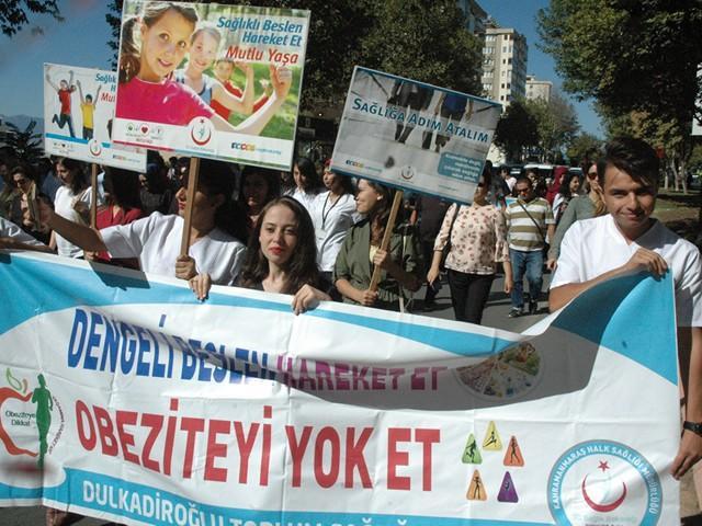 Kahramanmaraş'ta 'Sağlıklı Yaşam ve Obeziteyle Mücadele' yürüyüşü