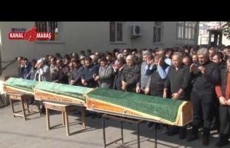 Kahramanmaraş'ta koca kurbanı kadın ile anne ve babası toprağa verildi