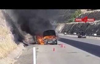 Kahramanmaraş'ta seyir halindeki araç alev alev yandı!