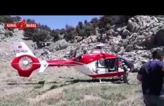 Kahramanmaraş'ta yaşlı adamın imdadına ambulans helikopter yetişti
