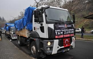 Onikişubat Belediyesi'nden, Elazığ'a 5 kamyon yardım