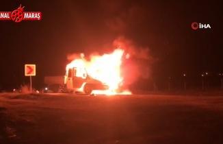 Kahramanmaraş'ta hareket halindeki kamyonet böyle yandı