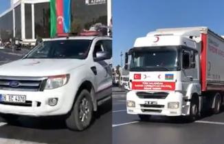Göğsümüz kabardı! Kızılay yardım konvoyu Bakü'ye girince trafik durdu