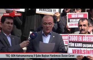 Teç-Sen Kahramanmaraş Şubesi'nden Milli Eğitim çalışanlarına 3600 ek gösterge talebi