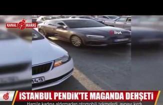 Trafik magandaları hamile kadının olduğu otomobile saldırdı!