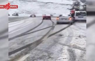 Kahramanmaraş'ta kar nedeniyle kayganlaşan yolda kaza: 1 yaralı