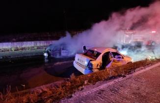 Uşak'ta kaza yapan araç yandı: 2 ölü, 3 yaralı