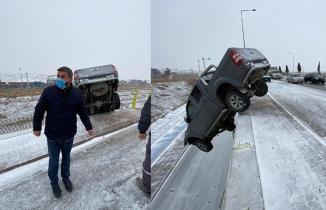 Mucize kurtuluş! Konya'da akılalmaz kaza! Araç üst geçitte asılı kaldı